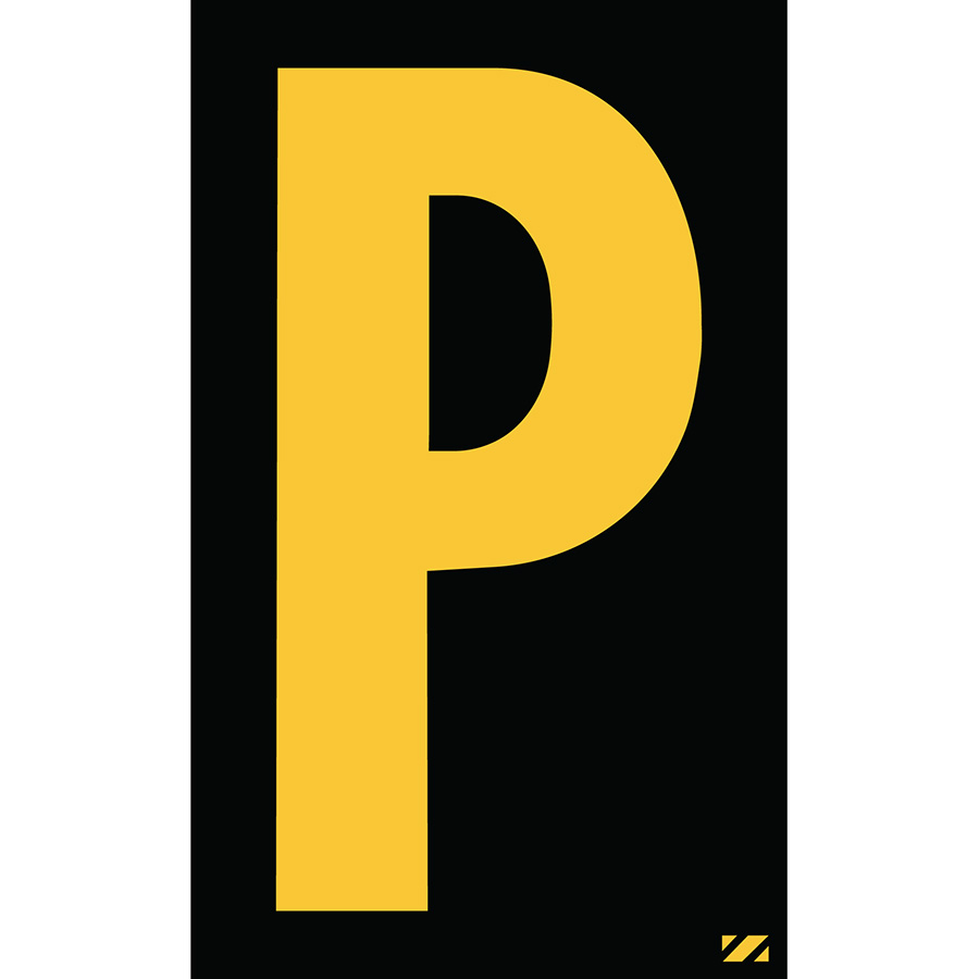 "2"" Yellow on Black Engineer Grade Reflective ""P"""