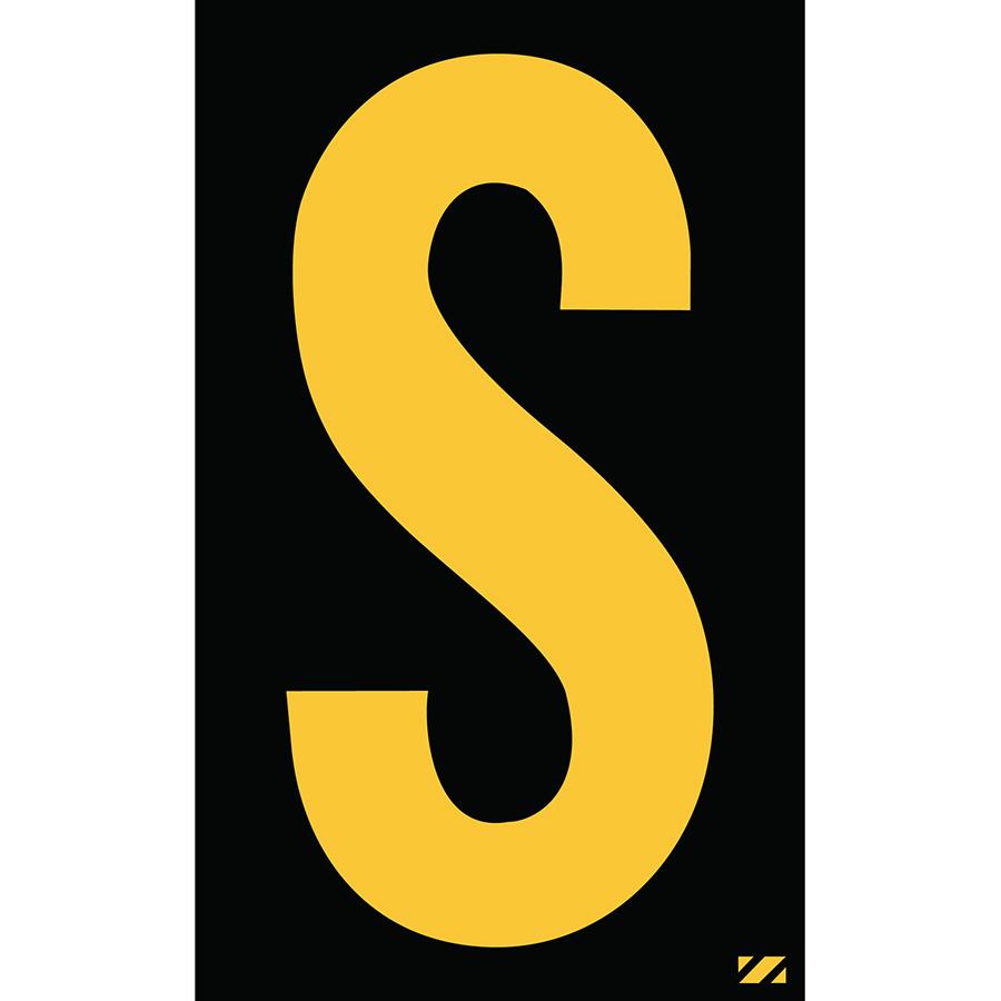"2.5"" Yellow on Black Engineer Grade Reflective ""S"""