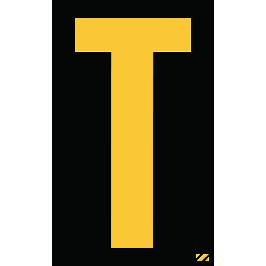"2.5"" Yellow on Black Engineer Grade Reflective ""T"""