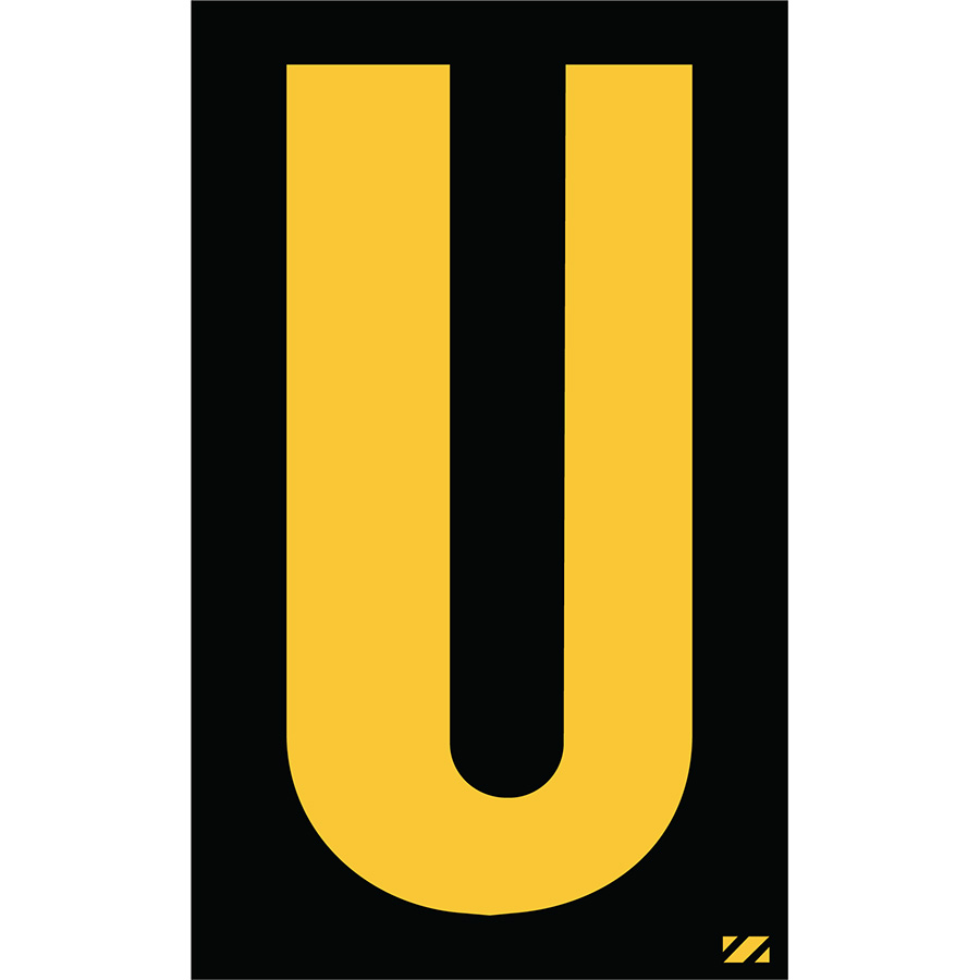 "2"" Yellow on Black Engineer Grade Reflective ""U"""