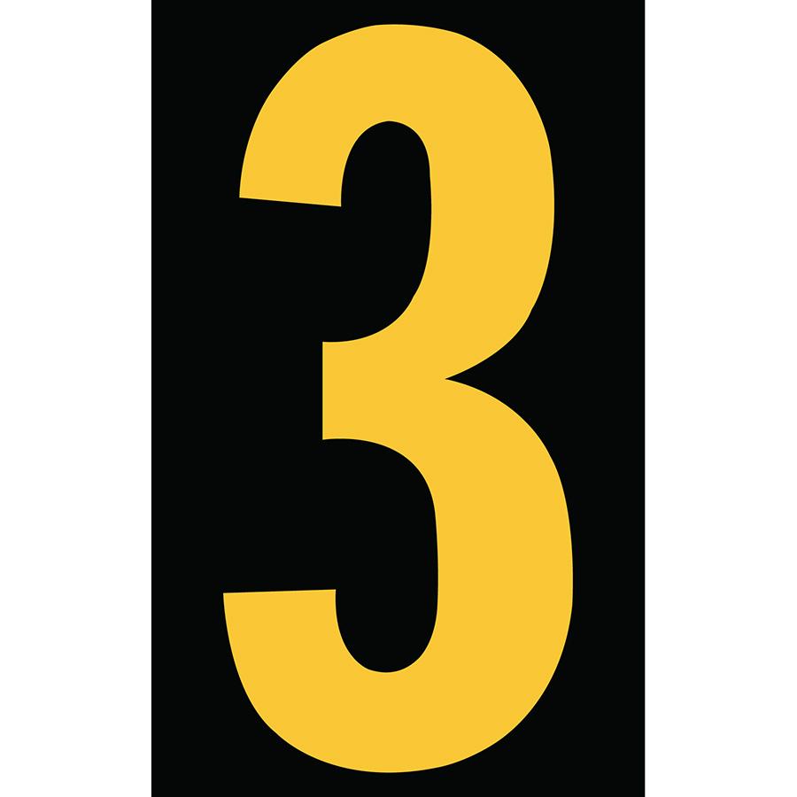 "3"" Yellow on Black Engineer Grade Reflective ""3"""