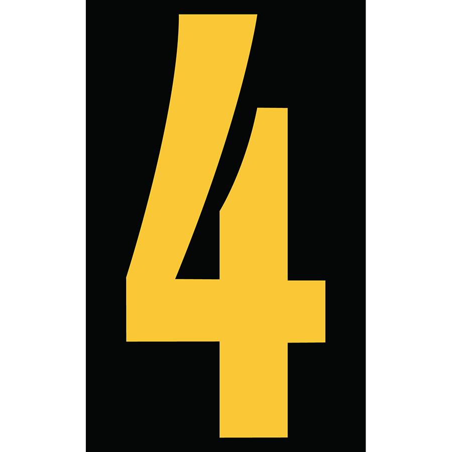 "3"" Yellow on Black Engineer Grade Reflective ""4"""