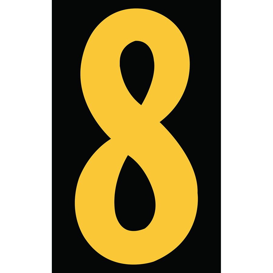 "3"" Yellow on Black Engineer Grade Reflective ""8"""