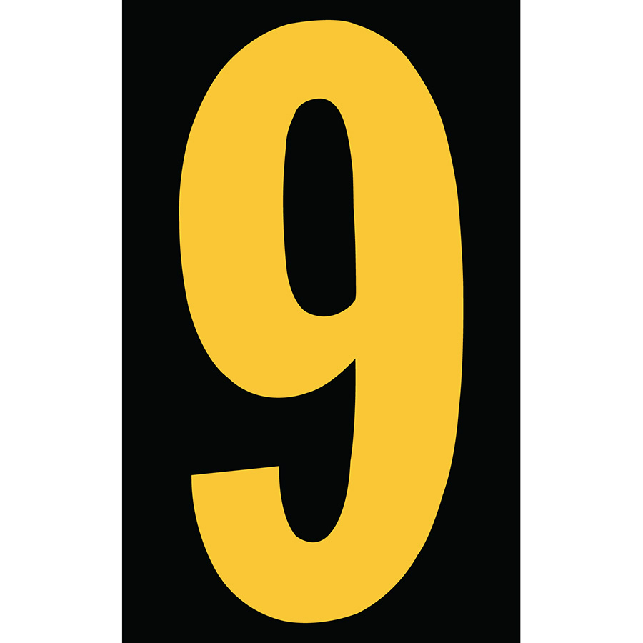 "3"" Yellow on Black Engineer Grade Reflective ""9"""