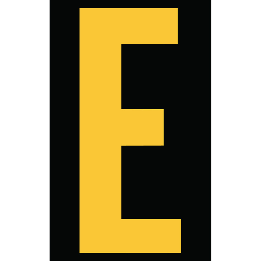 "3"" Yellow on Black Engineer Grade Reflective ""E"""