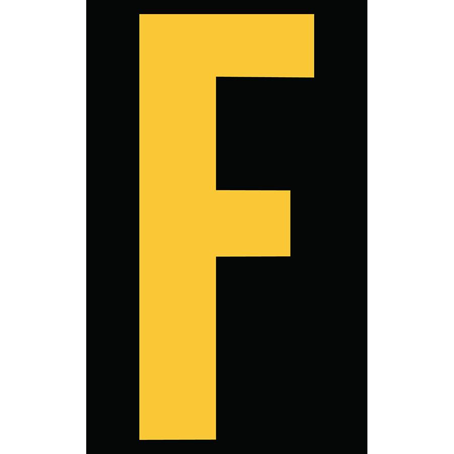 "3"" Yellow on Black Engineer Grade Reflective ""F"""