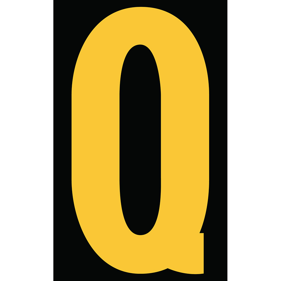"3"" Yellow on Black Engineer Grade Reflective ""Q"""