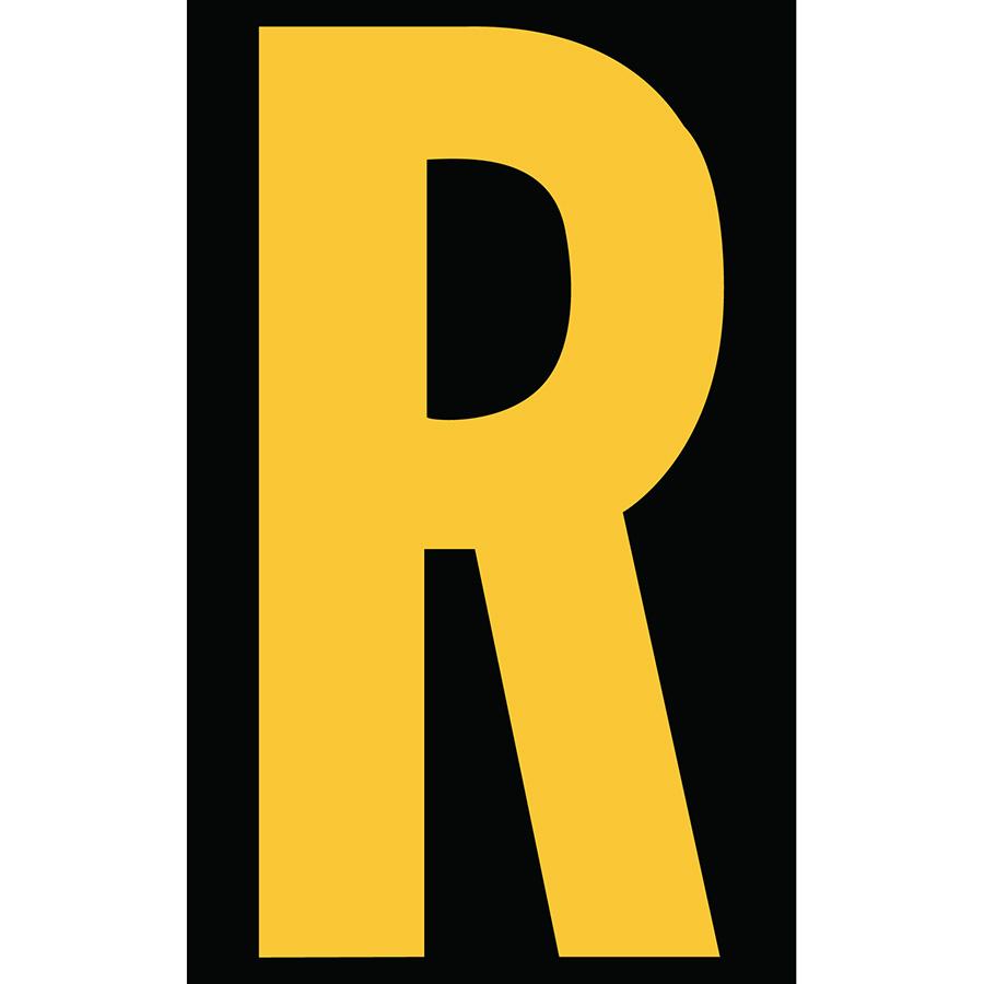 "3"" Yellow on Black Engineer Grade Reflective ""R"""