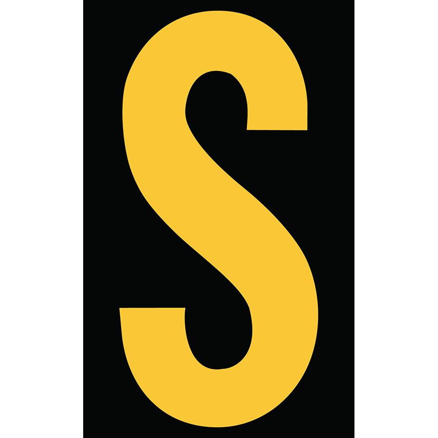 "3"" Yellow on Black Engineer Grade Reflective ""S"""