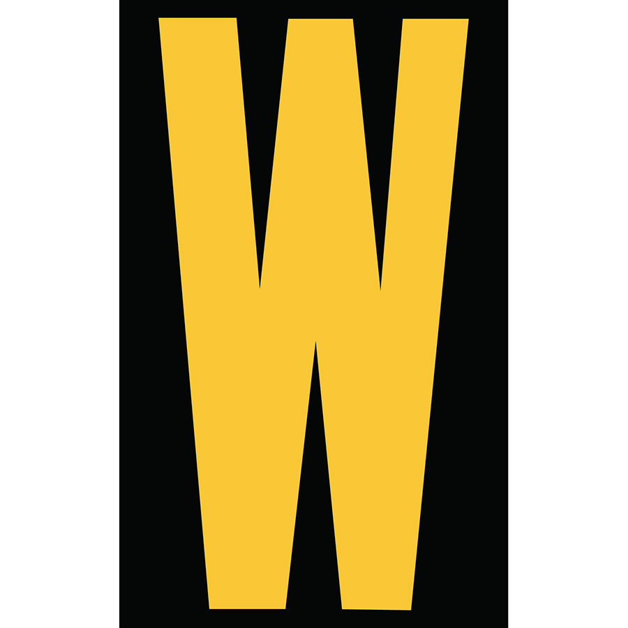 "3"" Yellow on Black Engineer Grade Reflective ""W"""