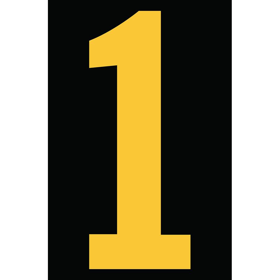 "4"" Yellow on Black Engineer Grade Reflective ""1"""