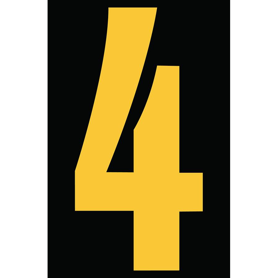 "4"" Yellow on Black Engineer Grade Reflective ""4"""