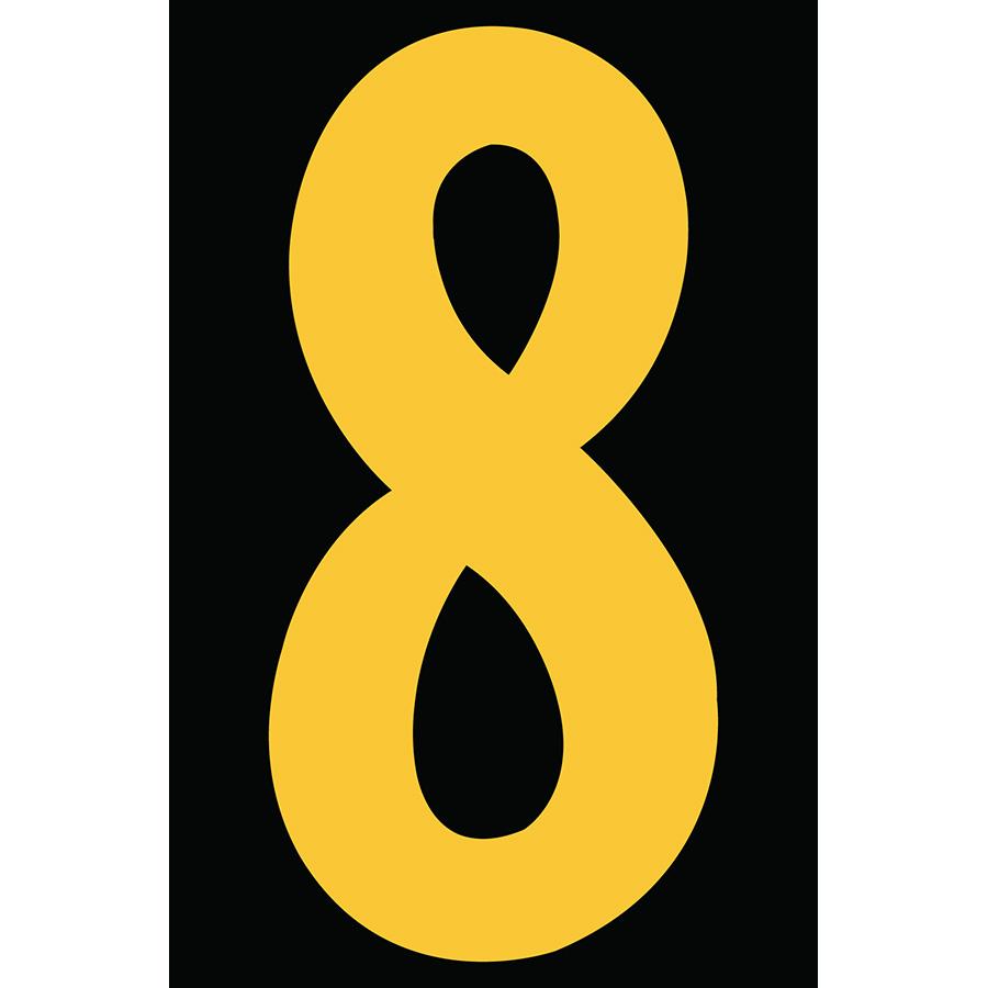 "4"" Yellow on Black Engineer Grade Reflective ""8"""