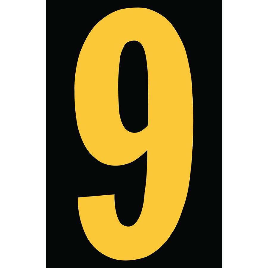 "4"" Yellow on Black Engineer Grade Reflective ""9"""