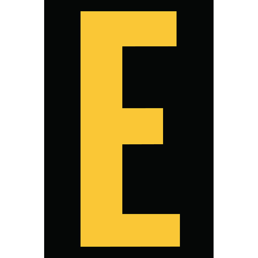 "4"" Yellow on Black Engineer Grade Reflective ""E"""