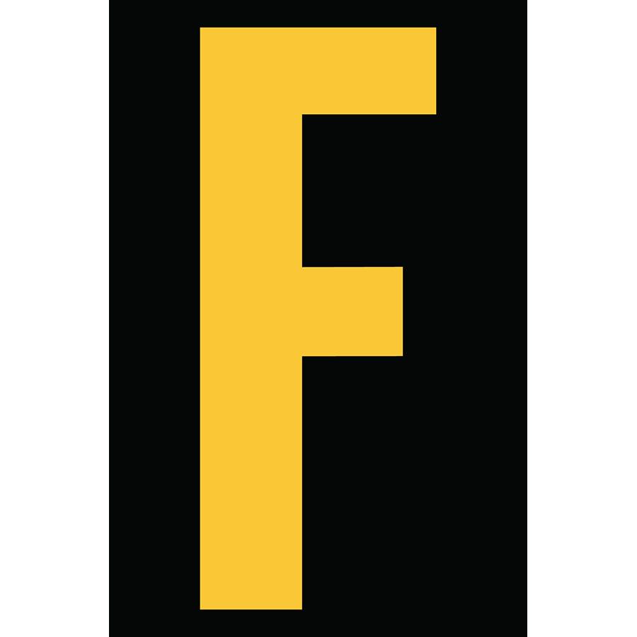 "4"" Yellow on Black Engineer Grade Reflective ""F"""