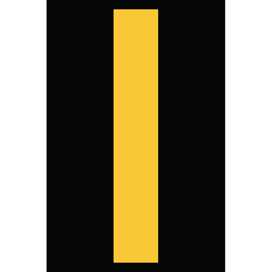 "4"" Yellow on Black Engineer Grade Reflective ""I"""
