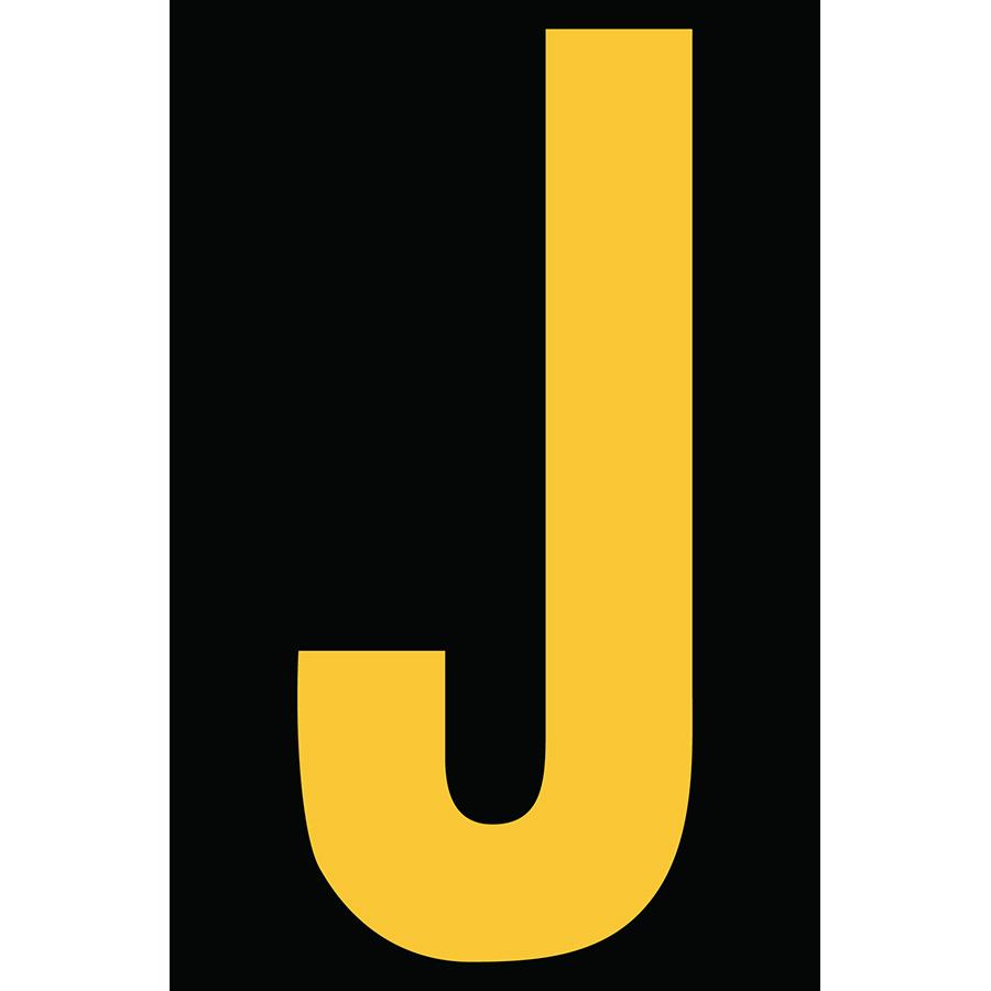 "4"" Yellow on Black Engineer Grade Reflective ""J"""