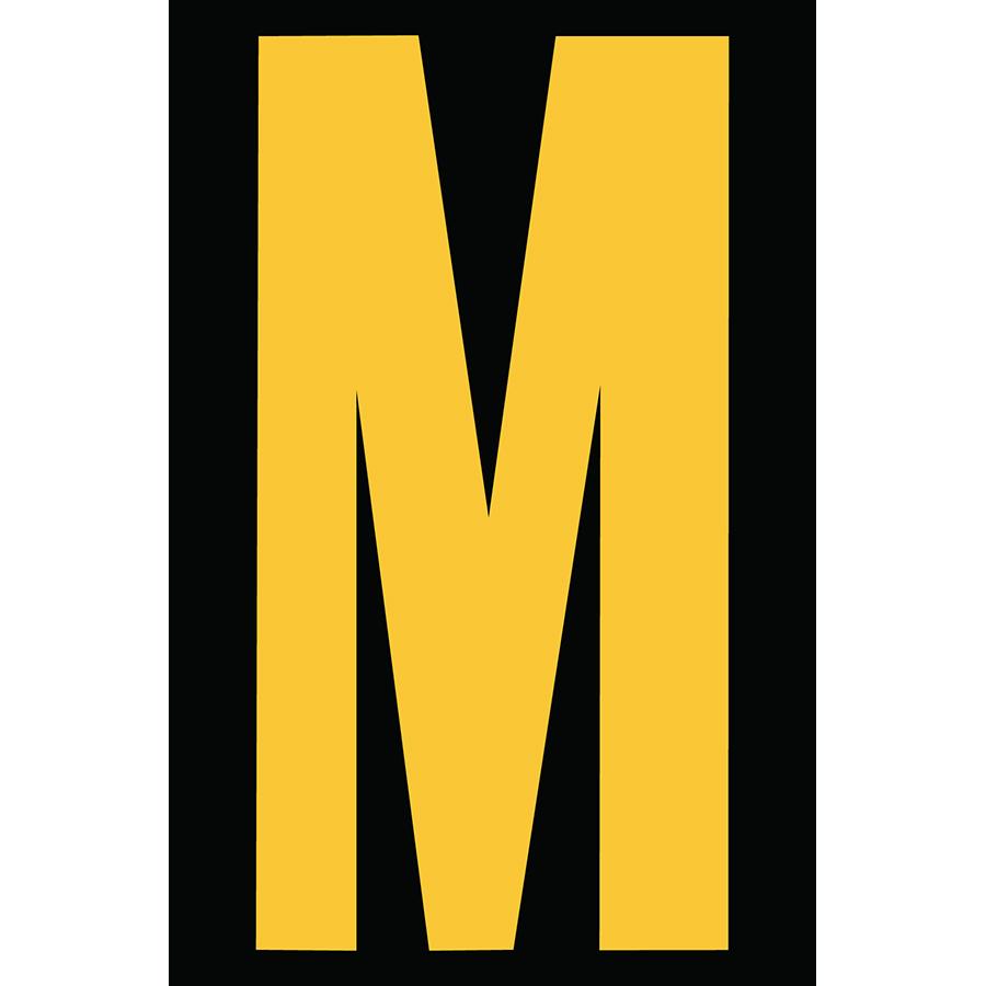 "4"" Yellow on Black Engineer Grade Reflective ""M"""