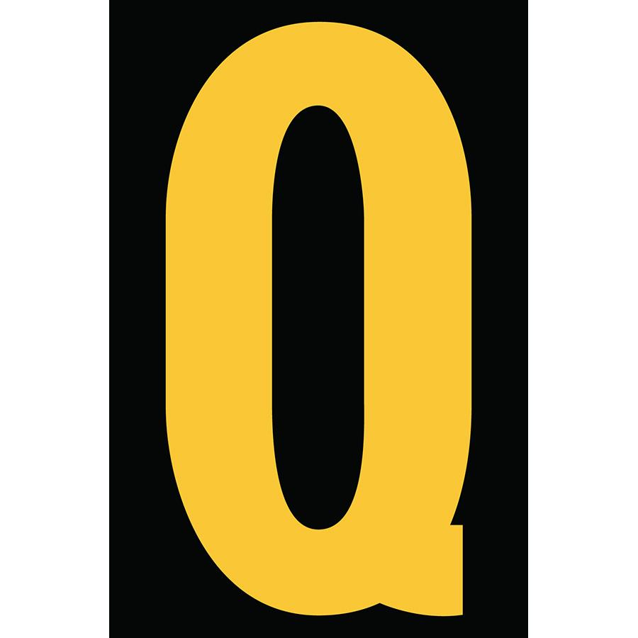 "4"" Yellow on Black Engineer Grade Reflective ""Q"""