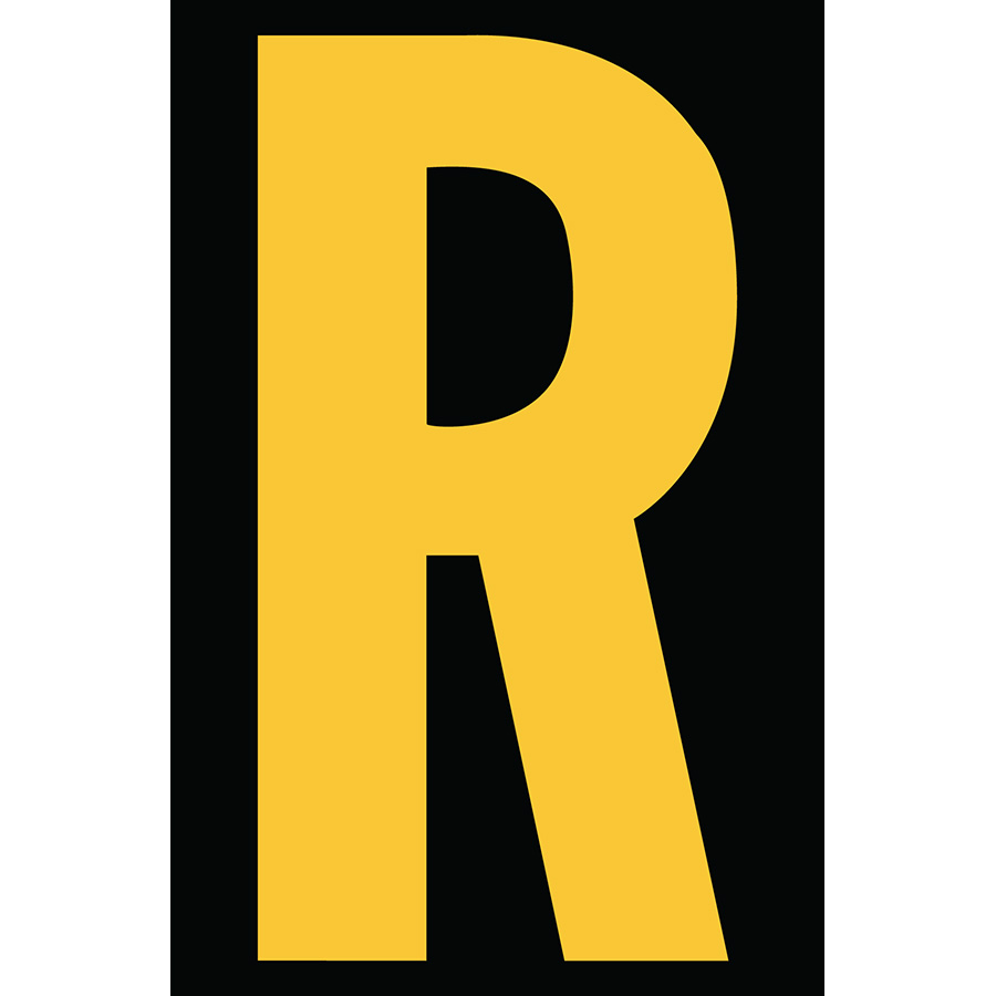 "4"" Yellow on Black Engineer Grade Reflective ""R"""