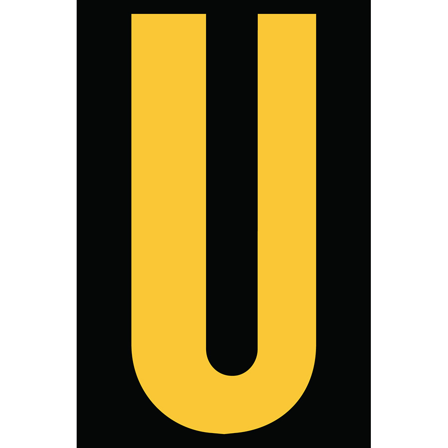"4"" Yellow on Black Engineer Grade Reflective ""U"""