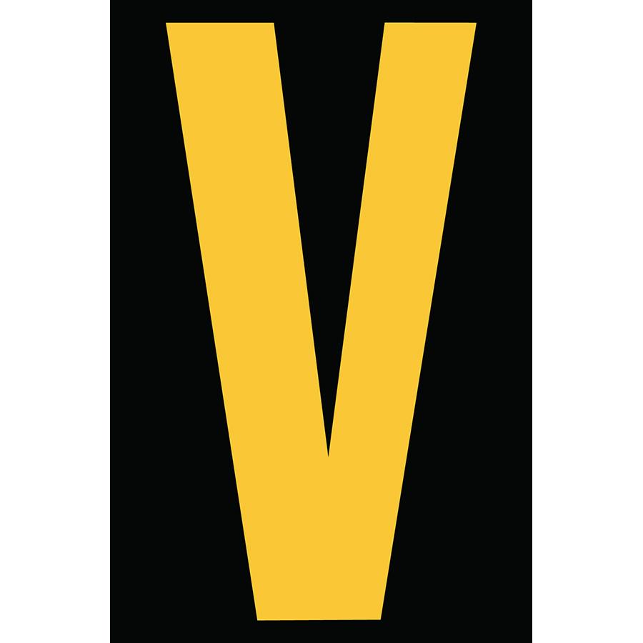 "4"" Yellow on Black Engineer Grade Reflective ""V"""