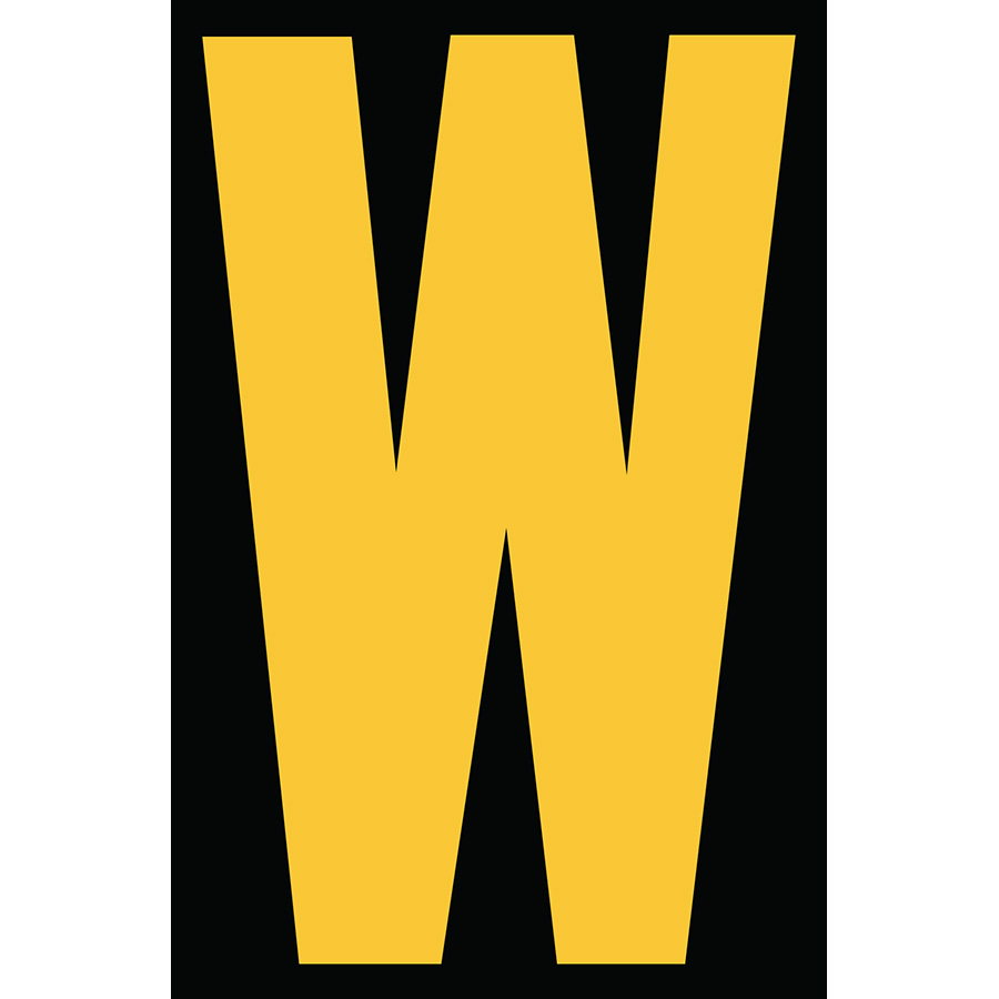 "4"" Yellow on Black Engineer Grade Reflective ""W"""