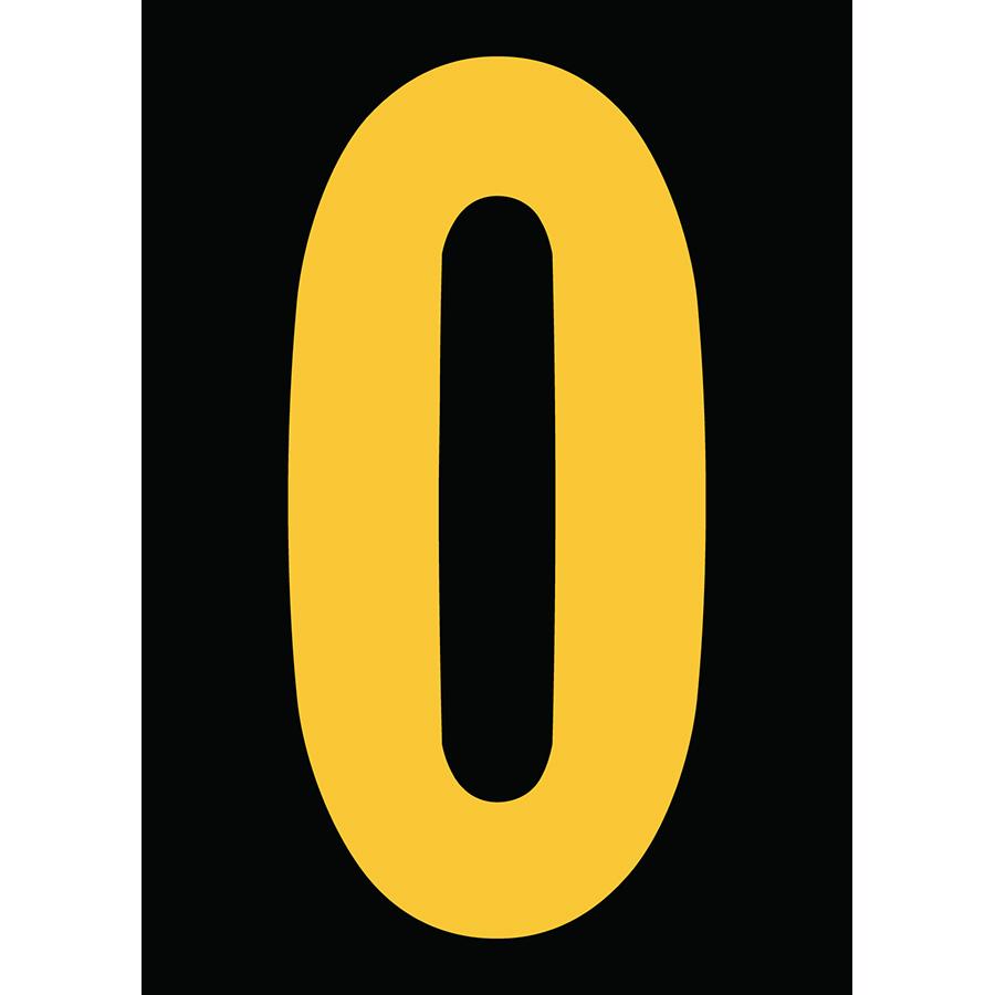 "6"" Yellow on Black Engineer Grade Reflective ""0"""