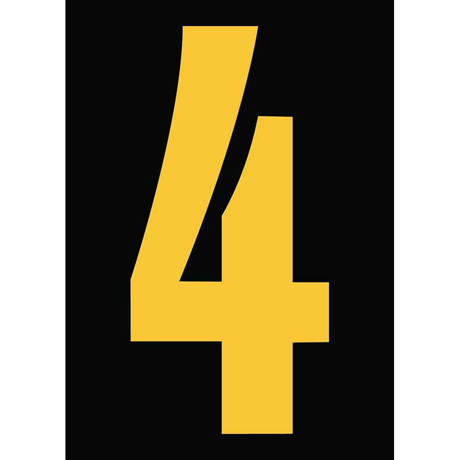 "6"" Yellow on Black Engineer Grade Reflective ""4"""