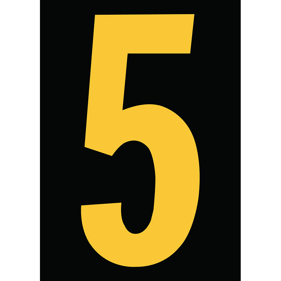 "6"" Yellow on Black Engineer Grade Reflective ""5"""