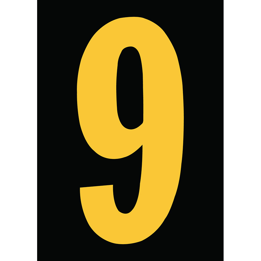 "6"" Yellow on Black Engineer Grade Reflective ""9"""