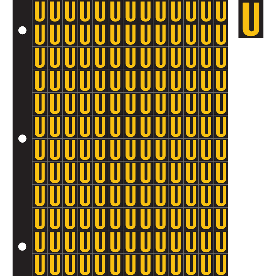 "0.78"" Yellow on Black Engineer Grade Reflective ""U"""