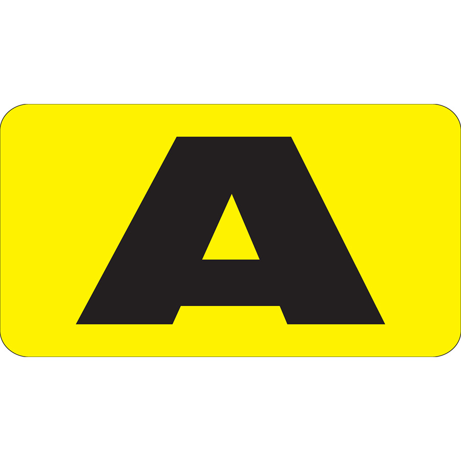"1"" Vertical, Black on Yellow, Flat Metal A-Z Slide-In Markers A-Z"