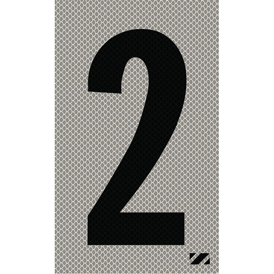 "2"" Black on Silver High Intensity Reflective ""2"""