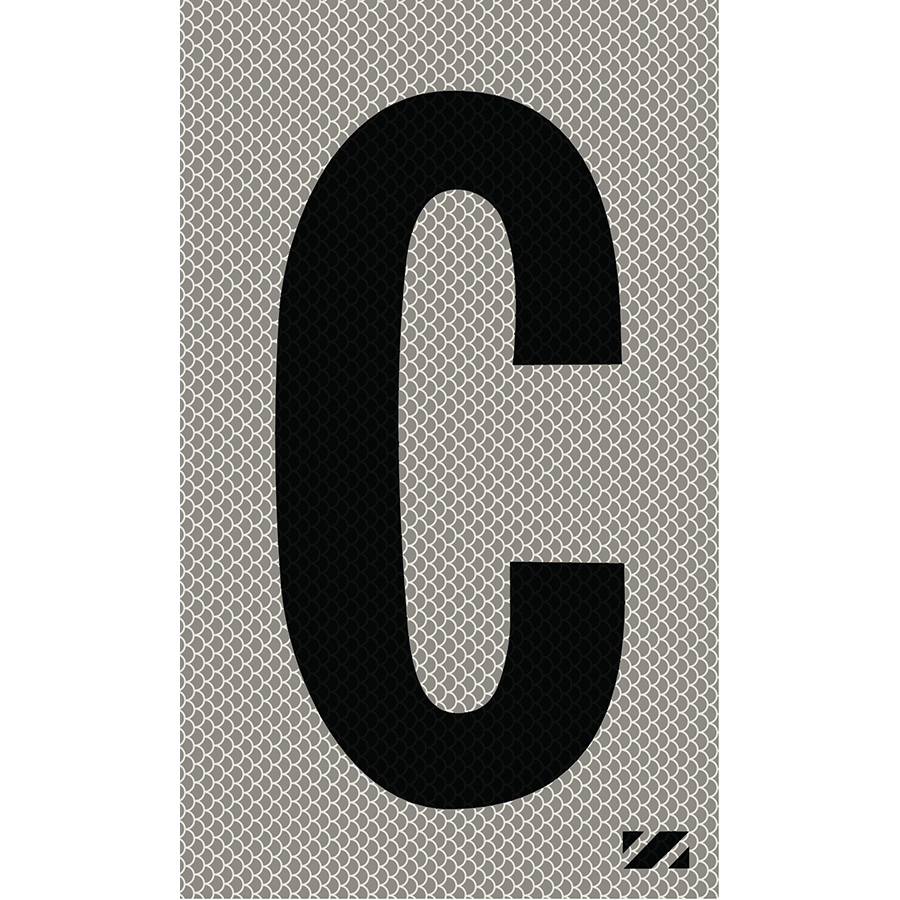 "2"" Black on Silver High Intensity Reflective ""C"""