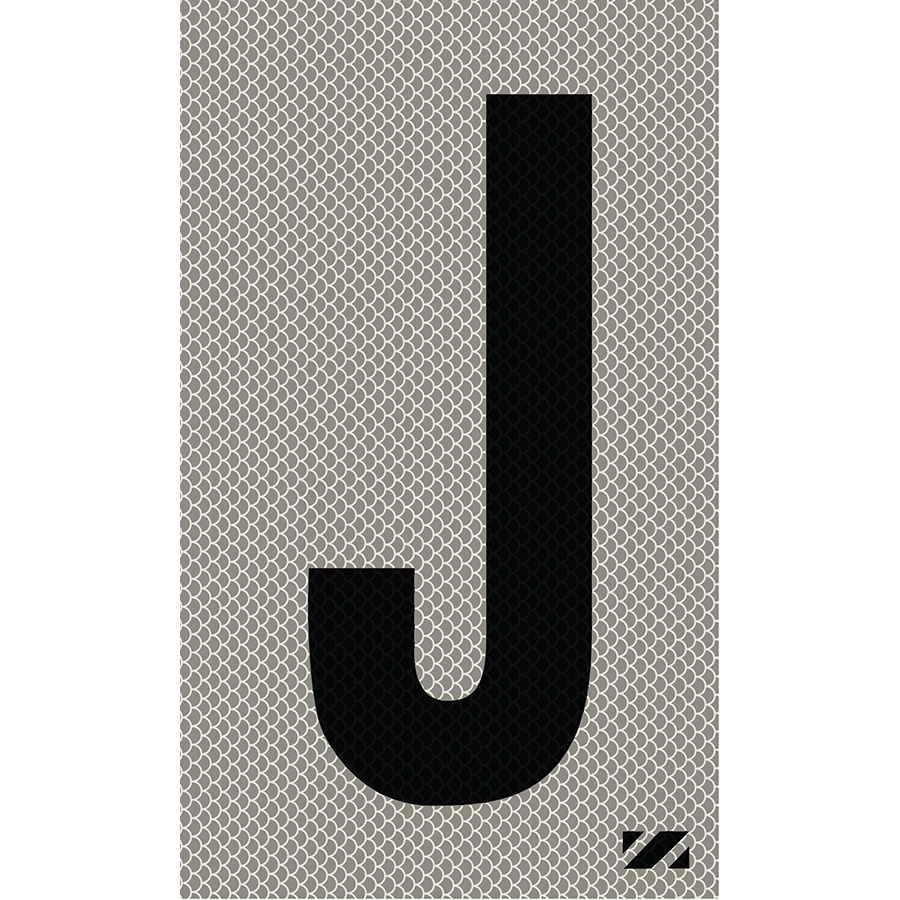 "2"" Black on Silver High Intensity Reflective ""J"""