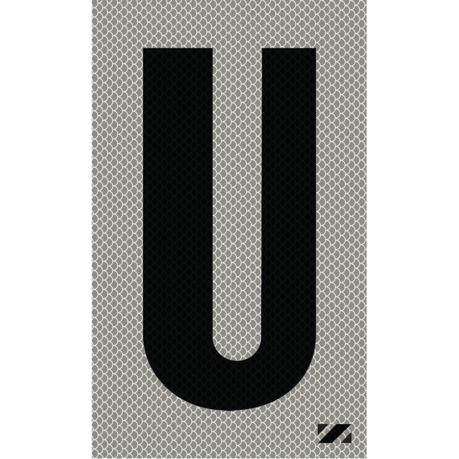 "2"" Black on Silver High Intensity Reflective ""U"""