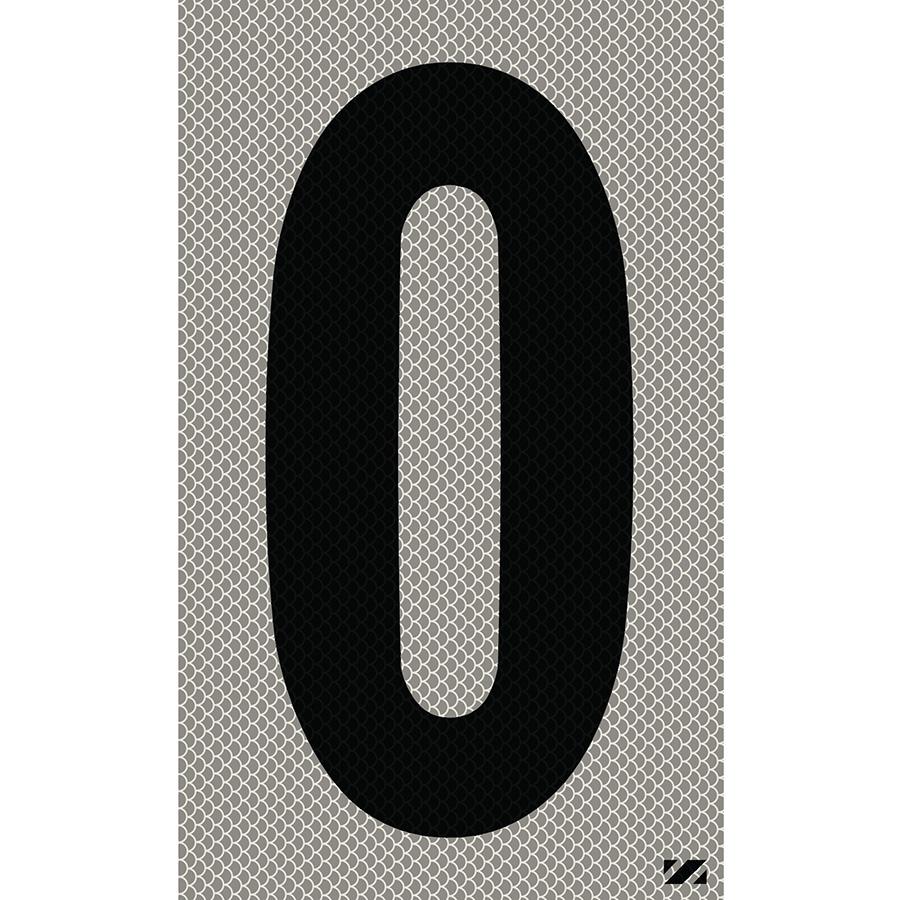 "2.5"" Black on Silver High Intensity Reflective ""0"""