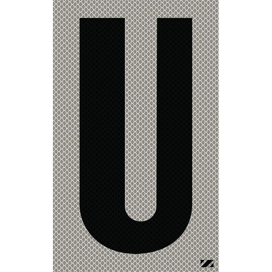 "2.5"" Black on Silver High Intensity Reflective ""U"""
