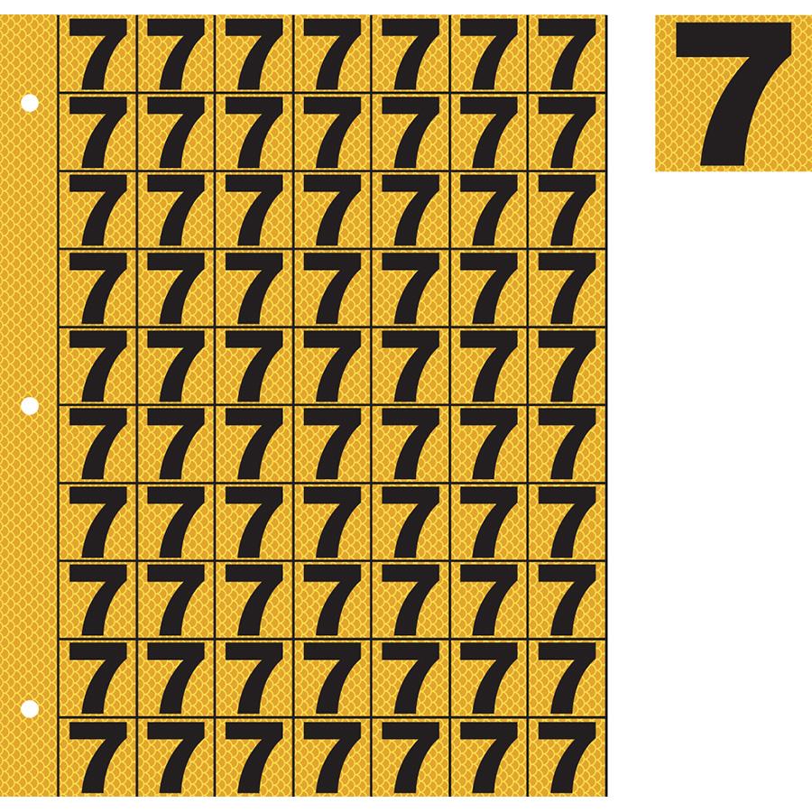 "1"" Black on Yellow High Intensity Reflective ""7"""