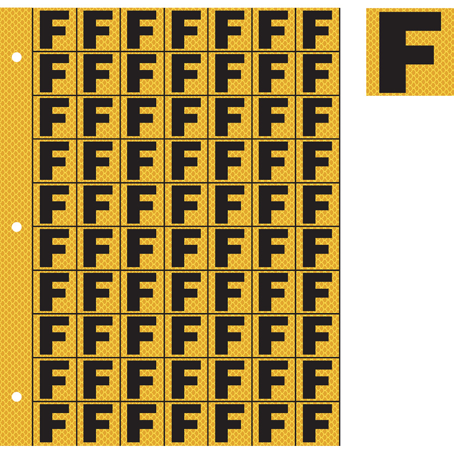 "1"" Black on Yellow High Intensity Reflective ""F"""