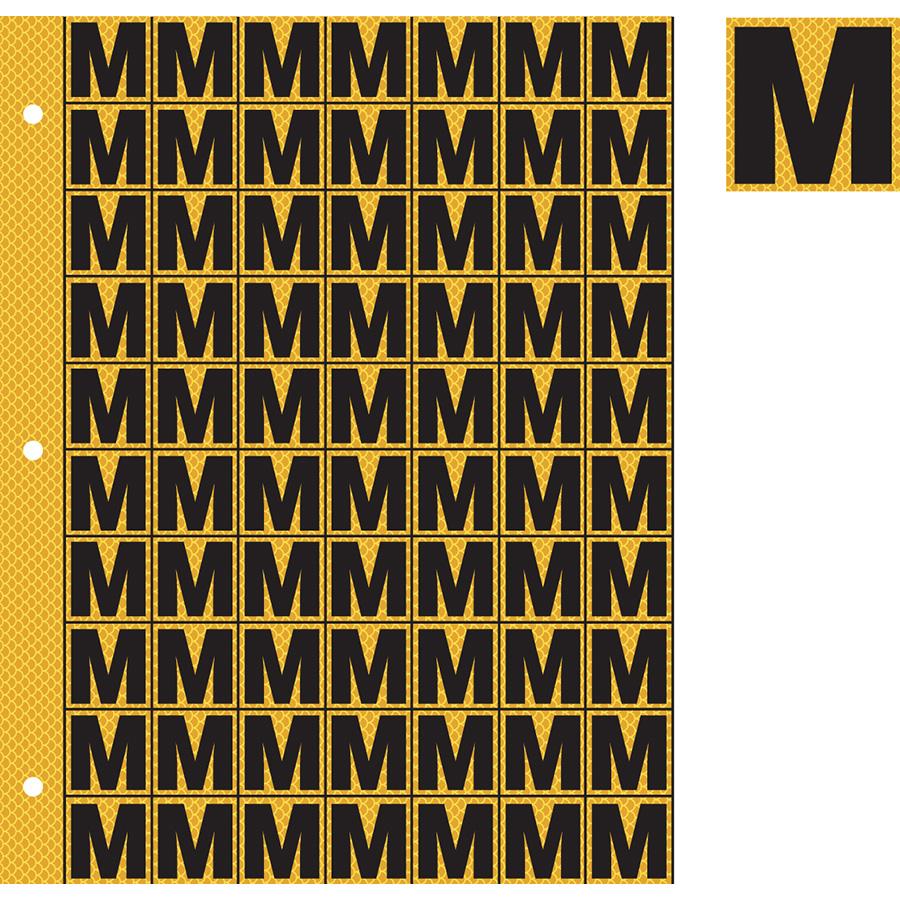 "1"" Black on Yellow High Intensity Reflective ""M"""