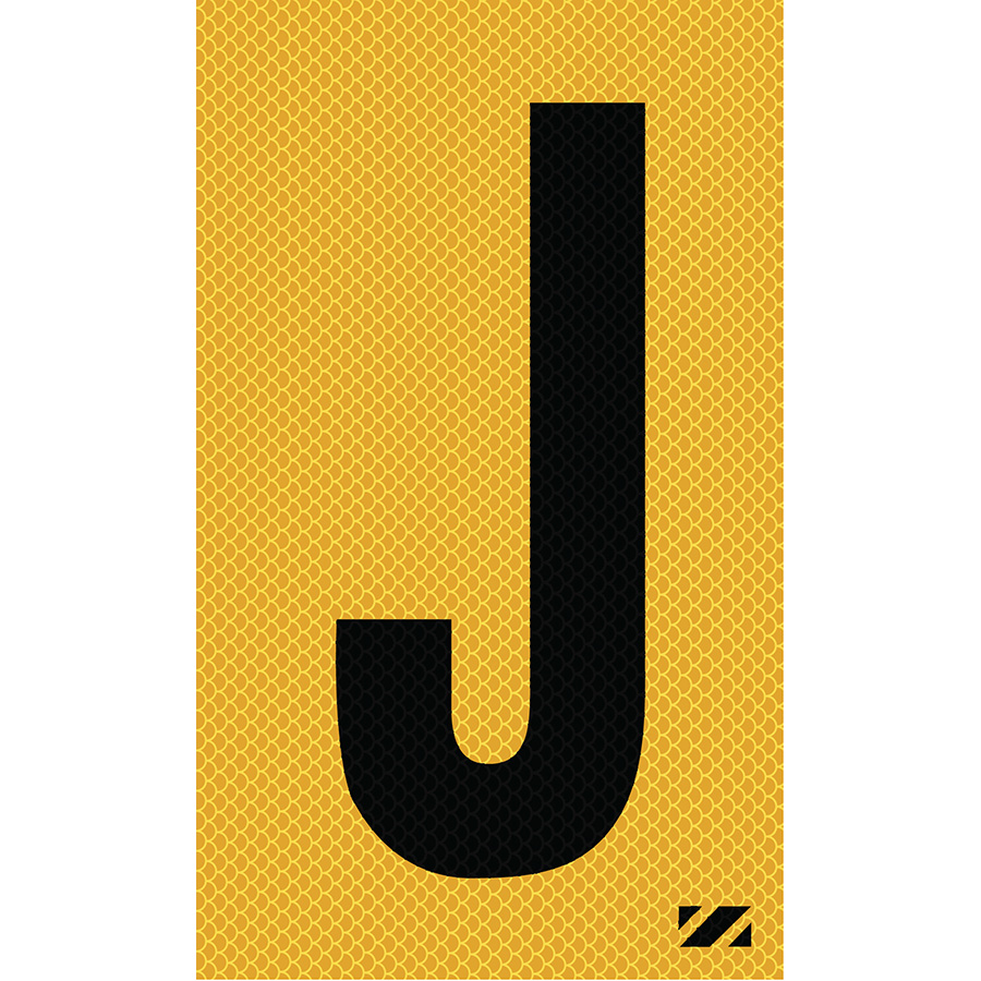 "2"" Black on Yellow High Intensity Reflective ""J"""
