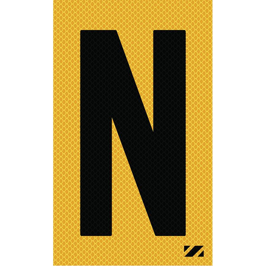 "2"" Black on Yellow High Intensity Reflective ""N"""