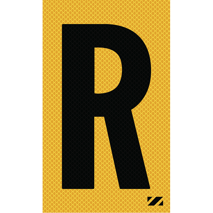 "2"" Black on Yellow High Intensity Reflective ""R"""