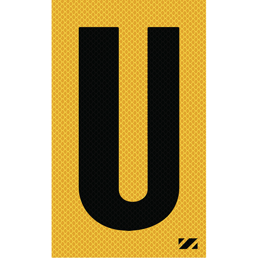 "2"" Black on Yellow High Intensity Reflective ""U"""