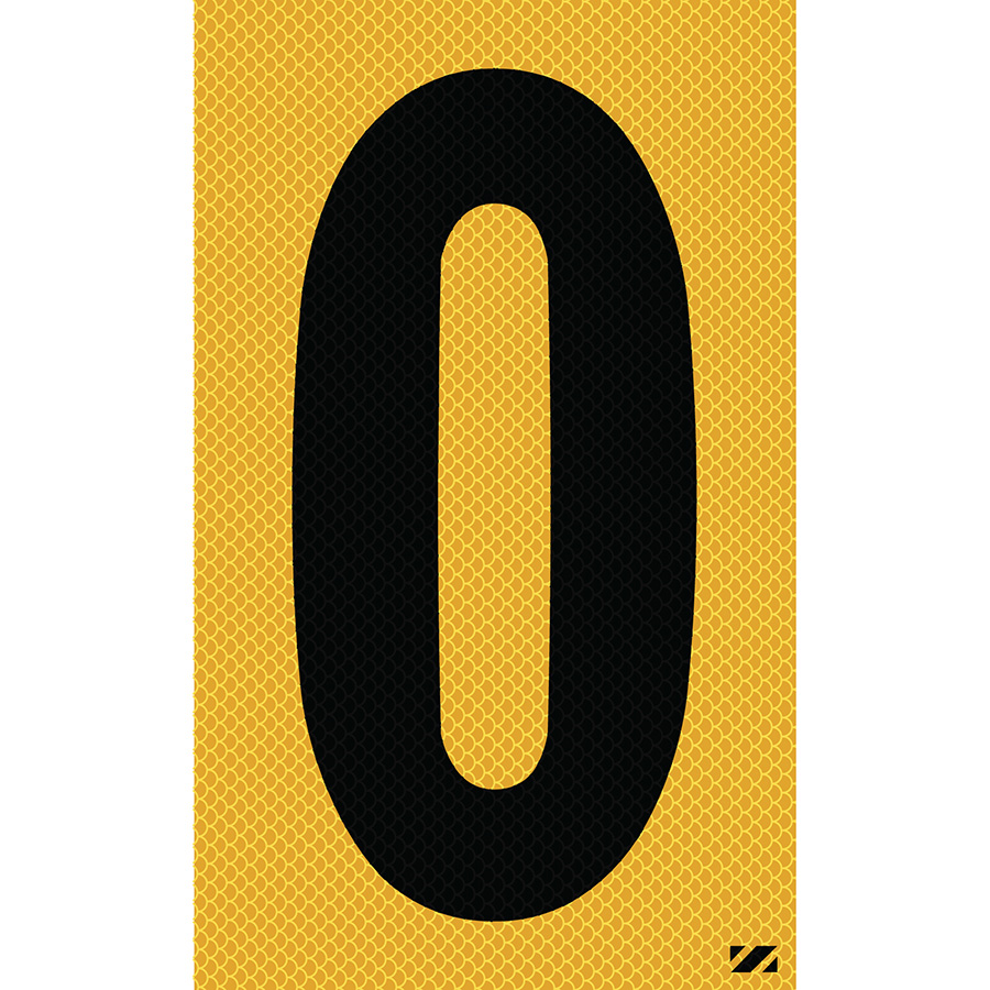 "2.5"" Black on Yellow High Intensity Reflective ""0"""
