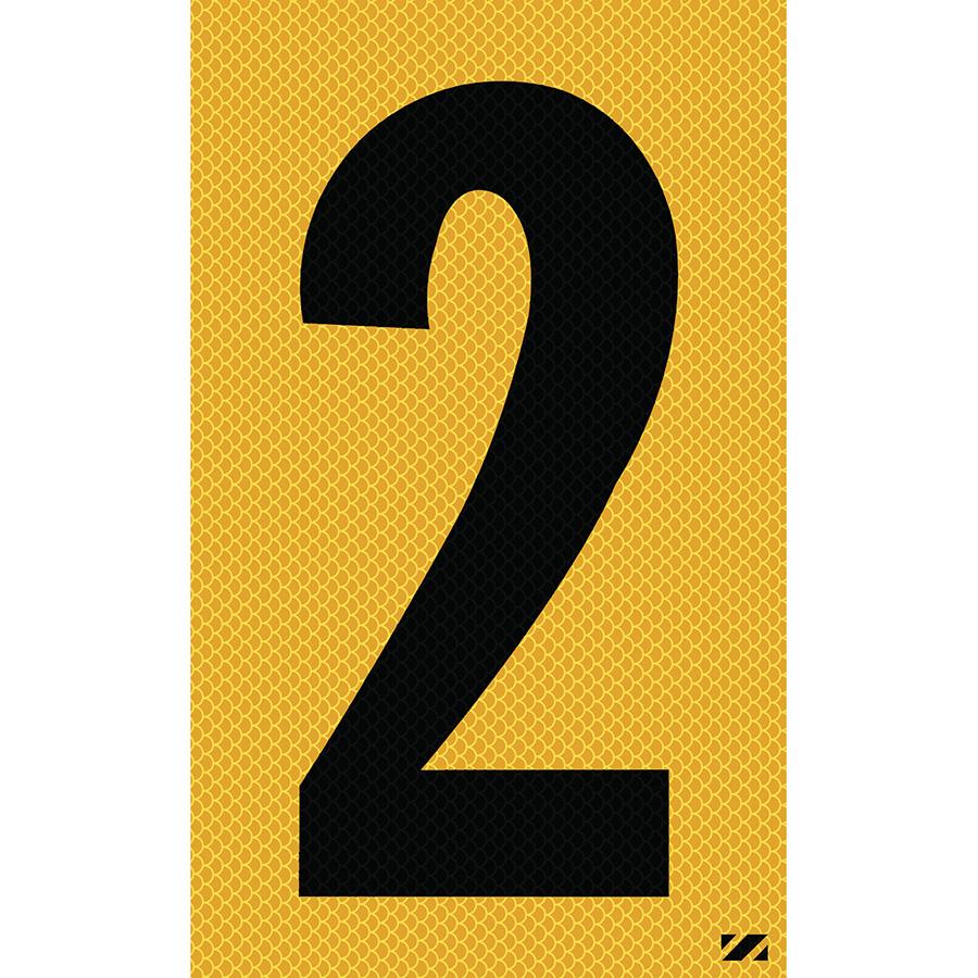 "2.5"" Black on Yellow High Intensity Reflective ""2"""