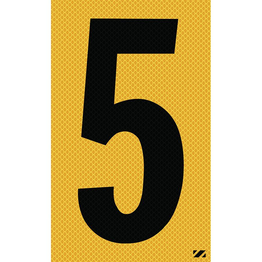 "2.5"" Black on Yellow High Intensity Reflective ""5"""